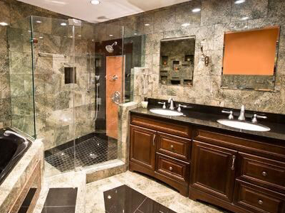 glass shower and marble bathroom